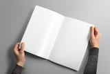 Blank A4 photorealistic brochure mockup on light grey background. - 111083274