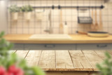 Fototapety wooden table and kitchen space