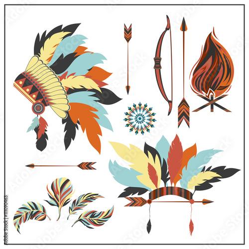 Fotobehang Indiërs Set ethnic style arrows, feathers,bow, war bonnet, fire