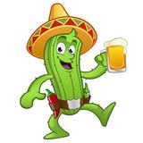 Cactus con una jarra de cerveza en la mano