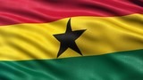 Seamless loop of flag of Ghana waving in the wind with highly detailed fabric texture.