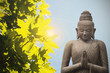 Buddha statue and yellow maple - asian culture