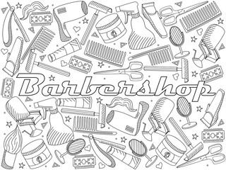Barbershop coloring book vector illustration
