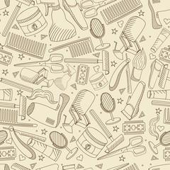 Barbershop seamless retro vector illustration