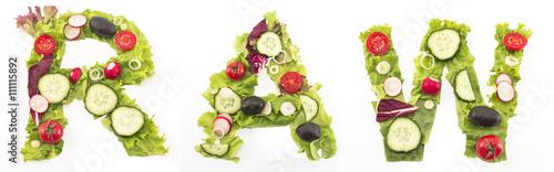 In de dag Verse groenten Word raw made of salad