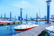 Постер, плакат: many yachts docked at the pier qingdao china