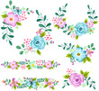 Blue Spring Flower Vector Set