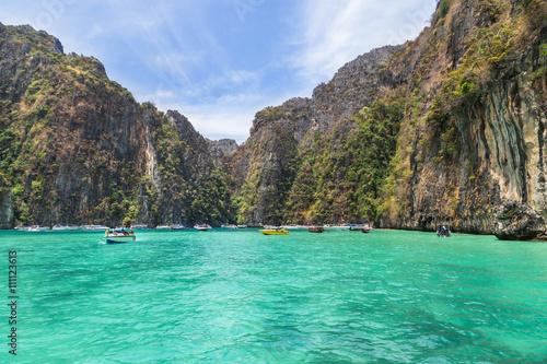 Poster Pileh blue lagoon famous for snorkeling at Phi Phi island, Krabi, Thailand