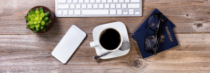 Planning future travel with coffee and other office equipment  © tab62