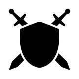 Swords / blades crossed sheath in shield flat icon for games and websites