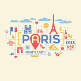 Paris France icons and typography design for cards, banners, t-shirts, posters