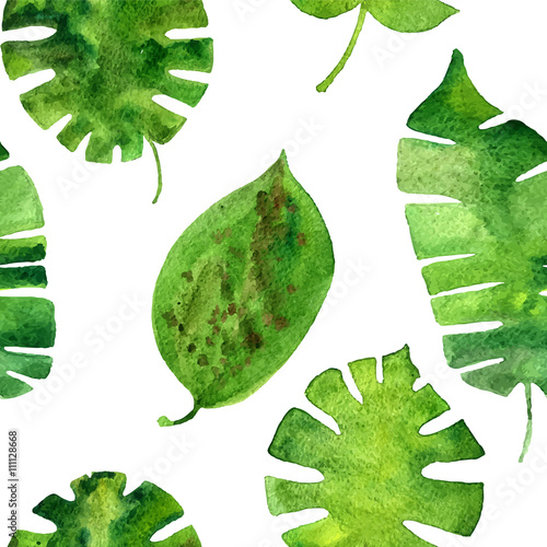 vector seamless pattern with watercolor green leaves - 111128668