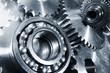 large ball-bearings and cogwheels of titanium, aerospace parts
