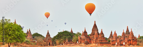 Balloons over Temples in Bagan. Myanmar. Poster