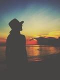 silhouette woman,twilight