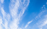 Cirrus clouds in bright blue sky, natural background