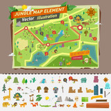 Fototapety jungle map with graphic elements - vector