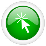 green round glossy click here vector icon