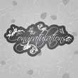 Congratulations floral swirls on seamless leaves pattern wallpaper