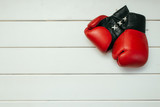 Boxing gloves  on wooden wall