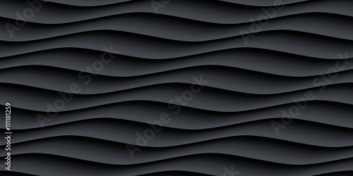 Black panel wavy seamless texture - 111181259