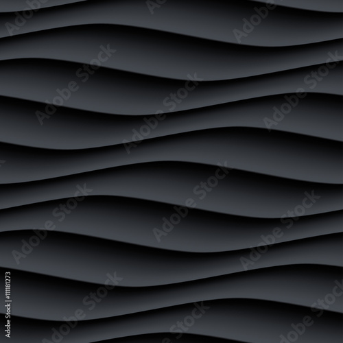 Black panel wavy seamless texture - 111181273