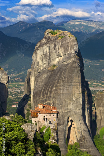 Zdjęcia na płótnie, fototapety, obrazy : Greece. Meteora (on UNESCO World Heritage List since 1988) - incredible sandstone rock formations rise from the ground and the monasteries on the top of rocks. The Holly Monastery of Rousanou
