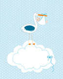 Fototapety Baby boy with stork. Baby arrival greeting card. Baby shower invitation newborn baby illustration