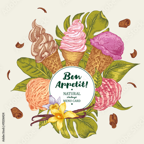 Tropical vector background with soft ice cream