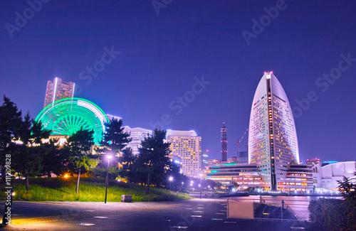 Foto op Canvas Violet 横浜みなとみらいの夜景