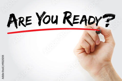 Poster Hand writing Are You Ready? with marker, business concept background