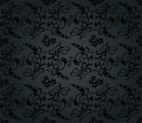 Seamless luxury charcoal round foliage wallpaper