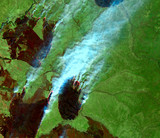 Forest fire in Russia (2016) from Landsat satellite. Elements of this image furnished by NASA.