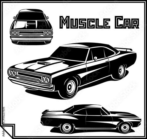 Muscle Car Vector Poster Monochrome Buy Photos Ap Images