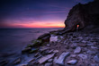 Mysterious door. Amazing night view at the rocky Black Sea coast, Bulgaria.