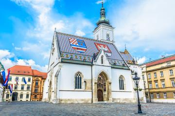Saint Mark church Zagreb./ Main square in upper town in historic old city center in Zagreb, Croatia.