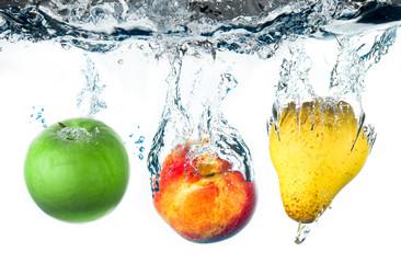 fototapeta jabłko, gruszka i brzoskwinia
