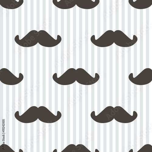 Tapeta Flat design, vector hipster moustache and stripes seamless pattern background.