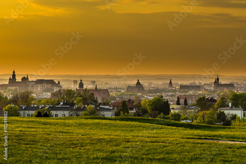 Panoramic view of Cracow from Krakus mood