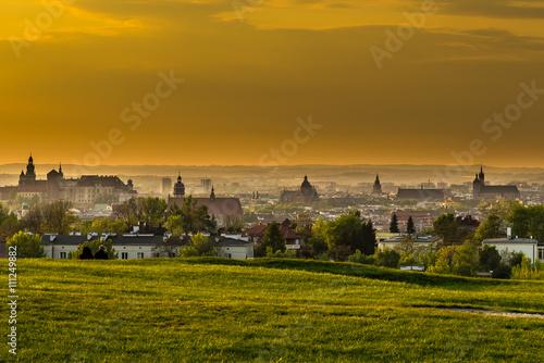 Fototapeta Panoramic view of Cracow from Krakus mood