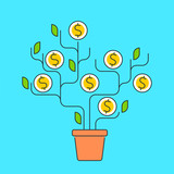 Vector flat line illustration of money tree represent growth concept development process of investing time, ideas, technologies to growth money. The metaphor of growth business and increase profit