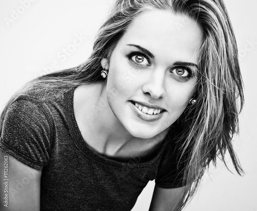 Black-white portrait of young stylish girl. © GooDAura