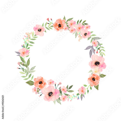 Vector watercolor flowers frame. Elegant floral collection with isolated flowers and leaves in circle frame. - 111262621