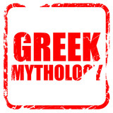 greek mythology, red rubber stamp with grunge edges