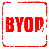 byod, red rubber stamp with grunge edges
