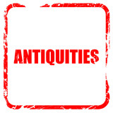 antiquities, red rubber stamp with grunge edges