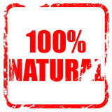 100% natural, red rubber stamp with grunge edges