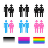 Heterosexual and homosexual couples with flags
