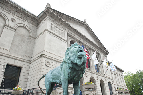 In de dag Chicago Green Lion Statue at Art Museum