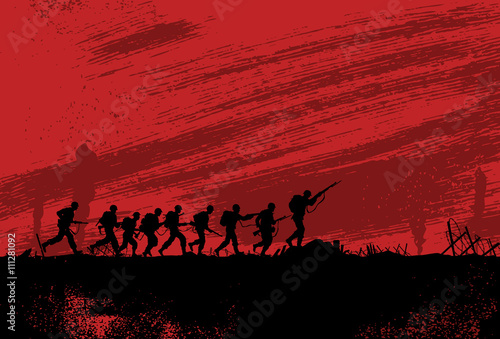 Plagát Silhouette of soldiers fighting at war